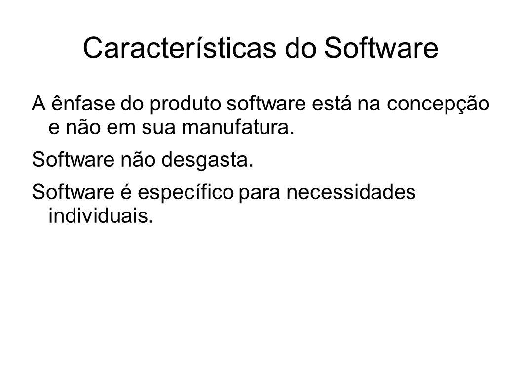 Características do Software A ênfase do produto software está na concepção e não em sua manufatura. Software não desgasta. Software é específico para