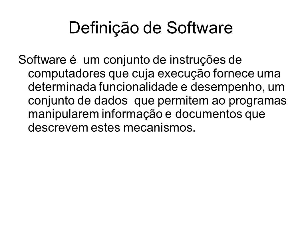 Definição de Software Software é um conjunto de instruções de computadores que cuja execução fornece uma determinada funcionalidade e desempenho, um c