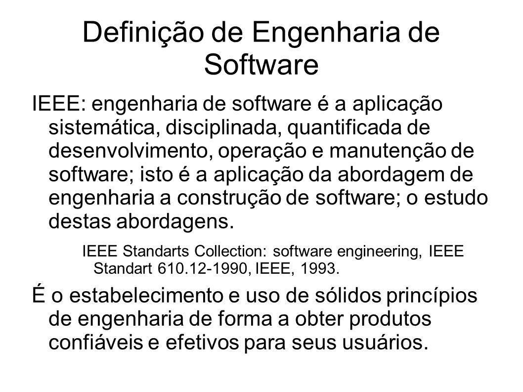 Definição de Engenharia de Software IEEE: engenharia de software é a aplicação sistemática, disciplinada, quantificada de desenvolvimento, operação e