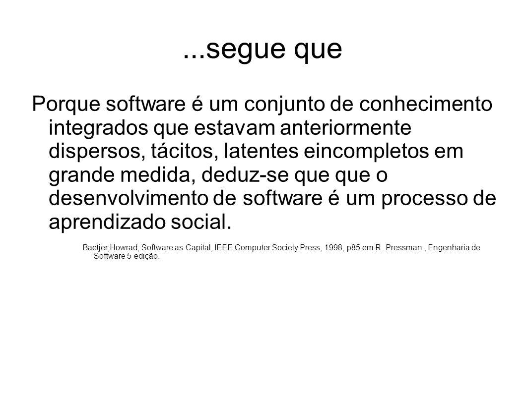 ...segue que Porque software é um conjunto de conhecimento integrados que estavam anteriormente dispersos, tácitos, latentes eincompletos em grande me