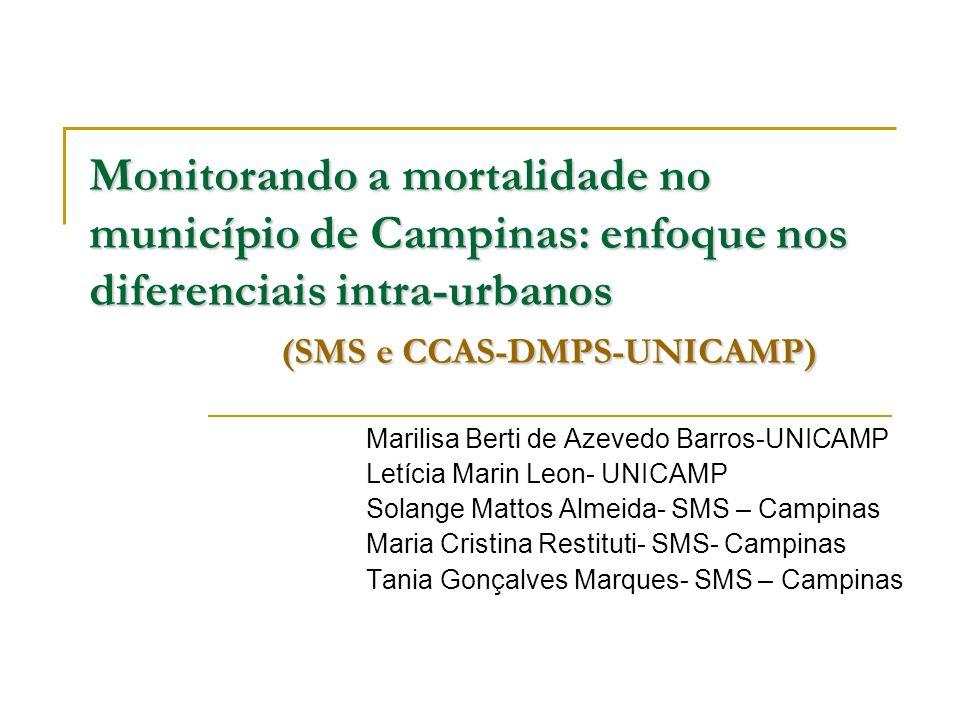 Monitorando a mortalidade no município de Campinas: enfoque nos diferenciais intra-urbanos (SMS e CCAS-DMPS-UNICAMP) Marilisa Berti de Azevedo Barros-