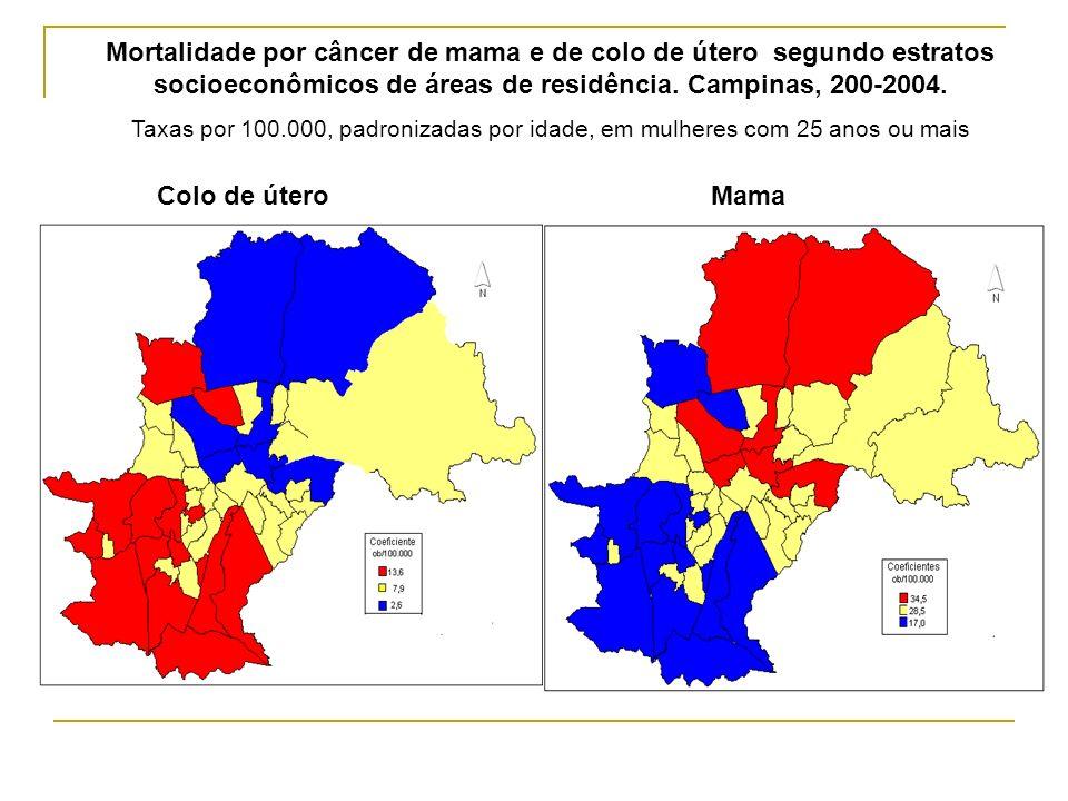 Mortalidade por câncer de mama e de colo de útero segundo estratos socioeconômicos de áreas de residência. Campinas, 200-2004. Taxas por 100.000, padr