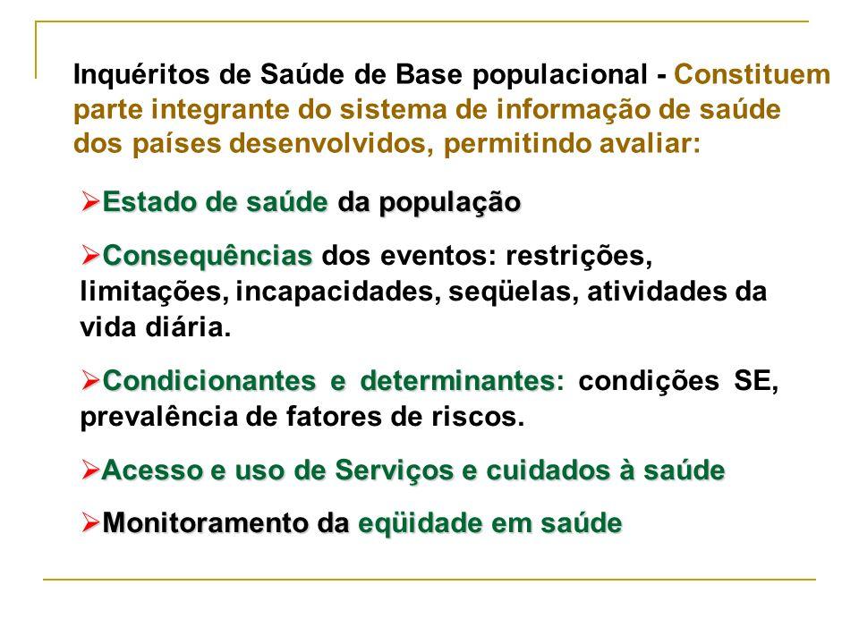 Inquéritos de Saúde de Base populacional - Constituem parte integrante do sistema de informação de saúde dos países desenvolvidos, permitindo avaliar: