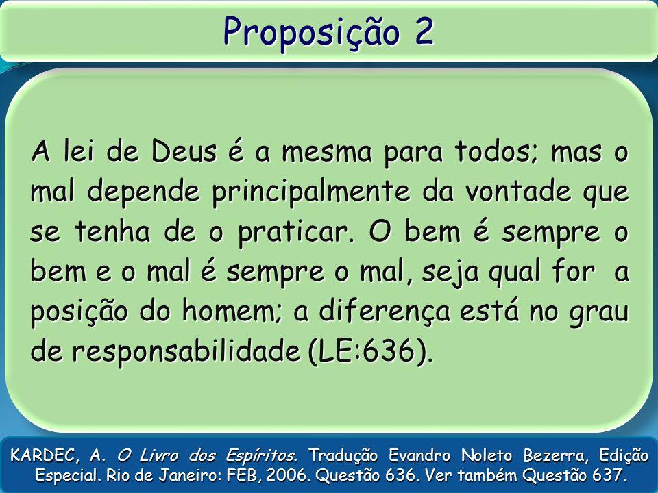 A lei de Deus é a mesma para todos; mas o mal depende principalmente da vontade que se tenha de o praticar. O bem é sempre o bem e o mal é sempre o ma