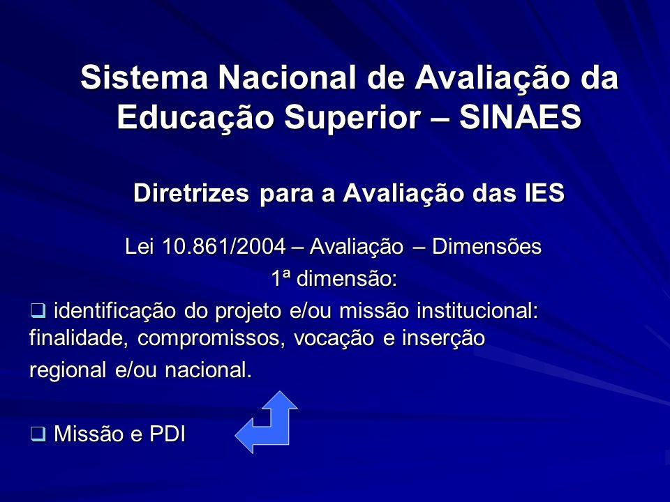 Sistema Nacional de Avaliação da Educação Superior – SINAES Diretrizes para a Avaliação das IES Lei 10.861/2004 – Avaliação – Dimensões 1ª dimensão: i