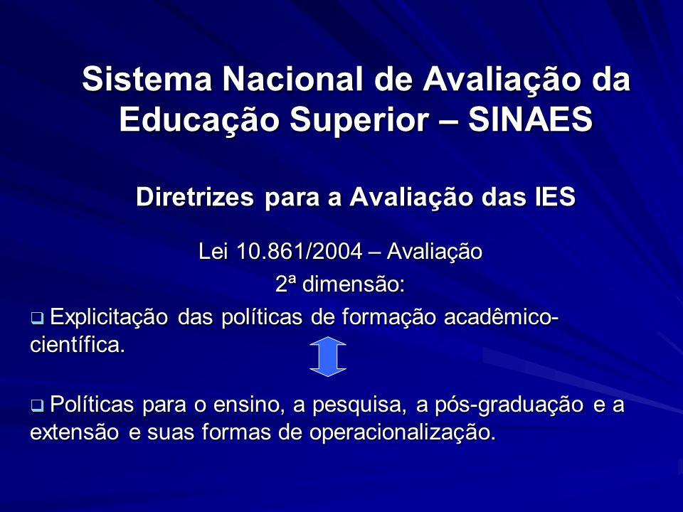 Sistema Nacional de Avaliação da Educação Superior – SINAES Diretrizes para a Avaliação das IES Lei 10.861/2004 – Avaliação 2ª dimensão: Explicitação
