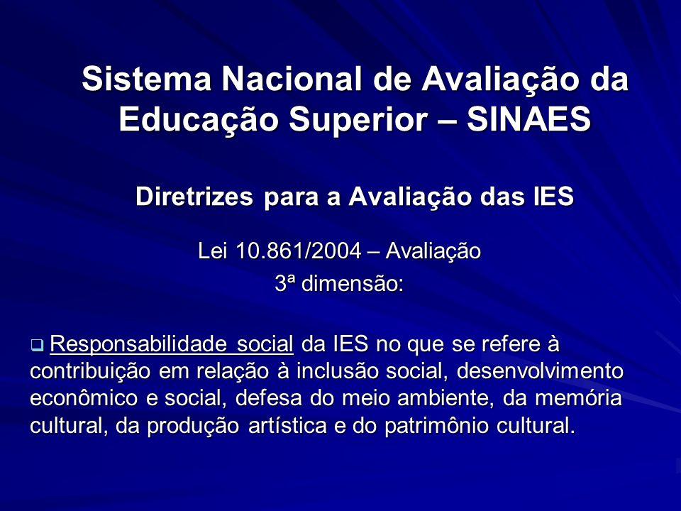 Sistema Nacional de Avaliação da Educação Superior – SINAES Diretrizes para a Avaliação das IES Lei 10.861/2004 – Avaliação 3ª dimensão: Responsabilid