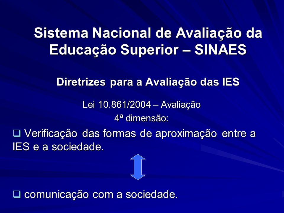 Sistema Nacional de Avaliação da Educação Superior – SINAES Diretrizes para a Avaliação das IES Lei 10.861/2004 – Avaliação 4ª dimensão: Verificação d