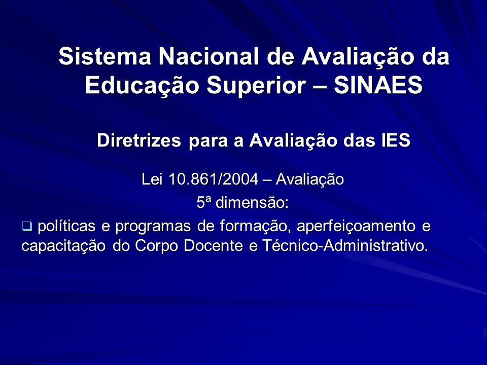 Sistema Nacional de Avaliação da Educação Superior – SINAES Diretrizes para a Avaliação das IES Lei 10.861/2004 – Avaliação 5ª dimensão: políticas e p