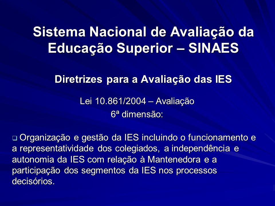 Sistema Nacional de Avaliação da Educação Superior – SINAES Diretrizes para a Avaliação das IES Lei 10.861/2004 – Avaliação 6ª dimensão: Organização e