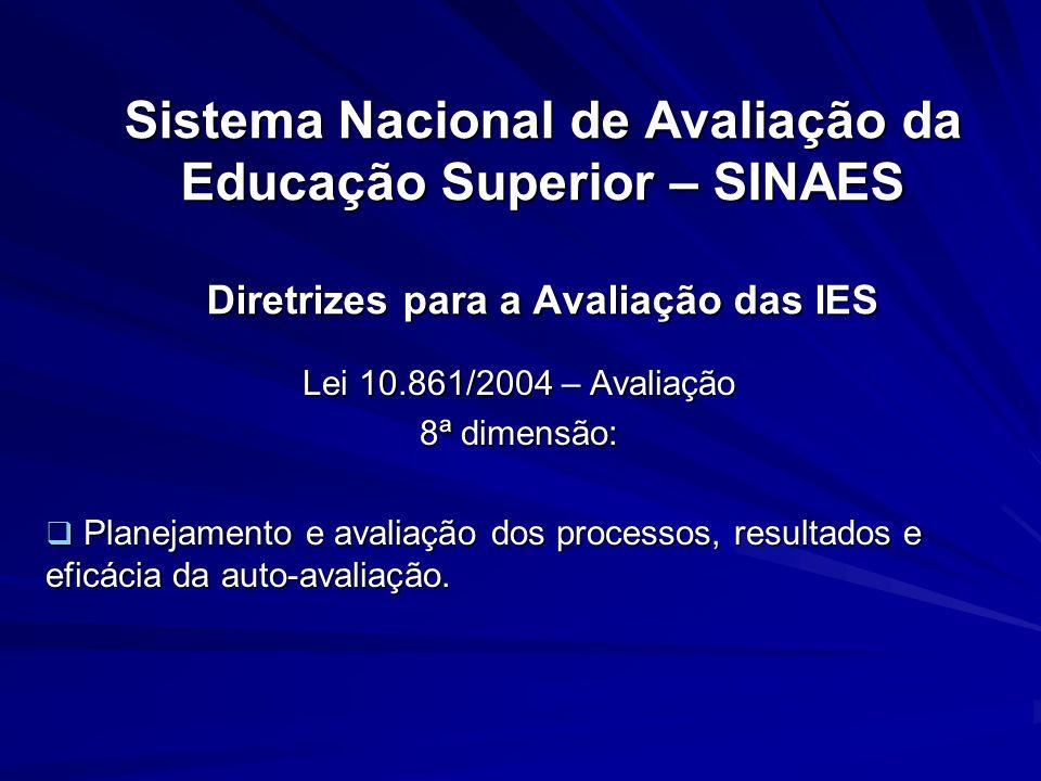 Sistema Nacional de Avaliação da Educação Superior – SINAES Diretrizes para a Avaliação das IES Lei 10.861/2004 – Avaliação 8ª dimensão: Planejamento