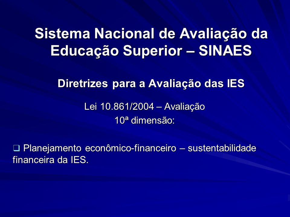 Sistema Nacional de Avaliação da Educação Superior – SINAES Diretrizes para a Avaliação das IES Lei 10.861/2004 – Avaliação 10ª dimensão: Planejamento