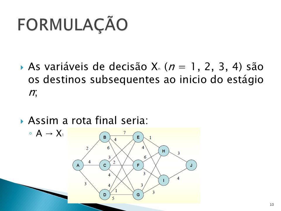 As variáveis de decisão X n (n = 1, 2, 3, 4) são os destinos subsequentes ao inicio do estágio n; Assim a rota final seria: A X 1 X 2 X 3 X 4 (X 4 = J