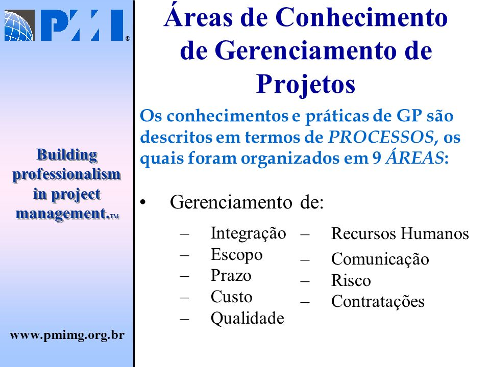 www.pmimg.org.br ® Building professionalism in project management.