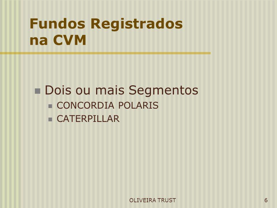 OLIVEIRA TRUST6 Fundos Registrados na CVM Dois ou mais Segmentos CONCORDIA POLARIS CATERPILLAR