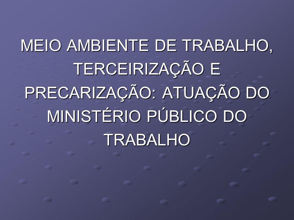 MEIO AMBIENTE DE TRABALHO, TERCEIRIZAÇÃO E PRECARIZAÇÃO: ATUAÇÃO DO MINISTÉRIO PÚBLICO DO TRABALHO