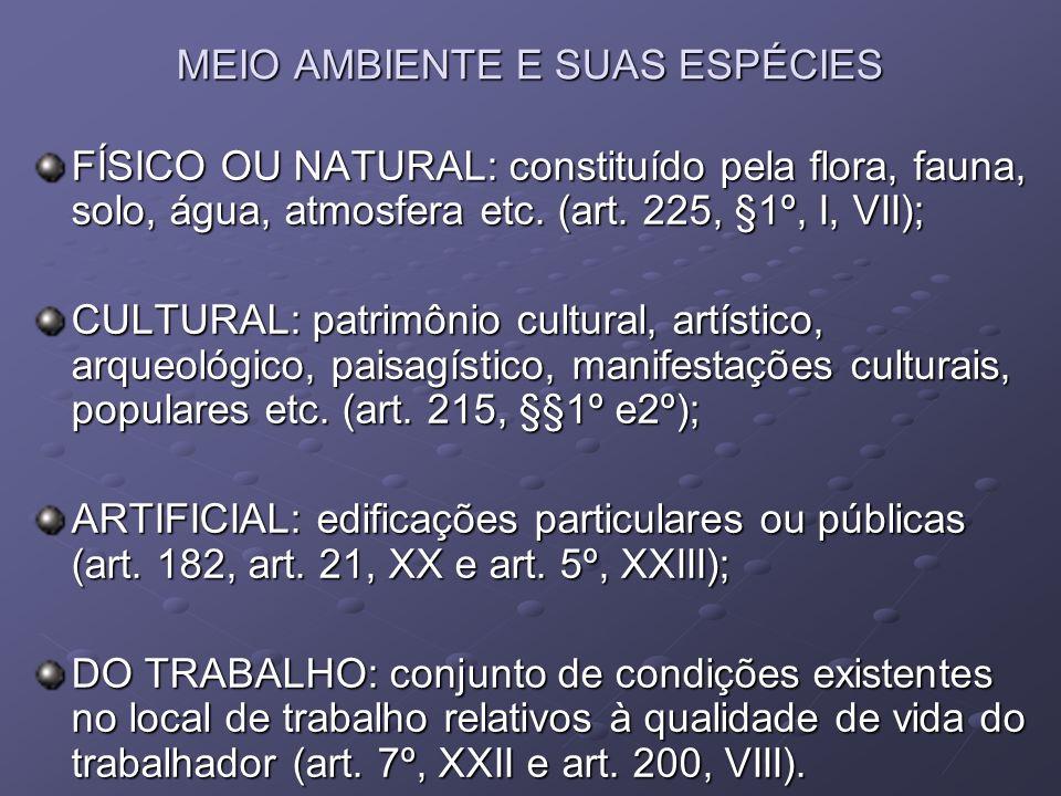 MEIO AMBIENTE E SUAS ESPÉCIES FÍSICO OU NATURAL: constituído pela flora, fauna, solo, água, atmosfera etc. (art. 225, §1º, I, VII); CULTURAL: patrimôn