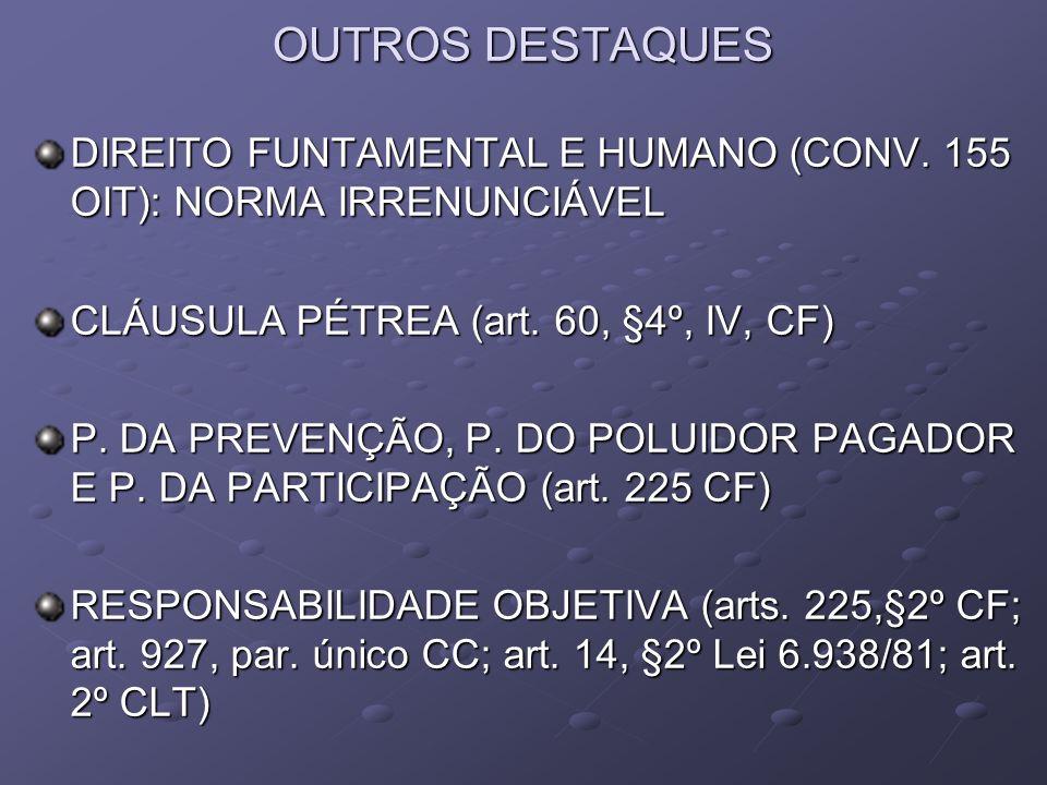 OUTROS DESTAQUES DIREITO FUNTAMENTAL E HUMANO (CONV. 155 OIT): NORMA IRRENUNCIÁVEL CLÁUSULA PÉTREA (art. 60, §4º, IV, CF) P. DA PREVENÇÃO, P. DO POLUI