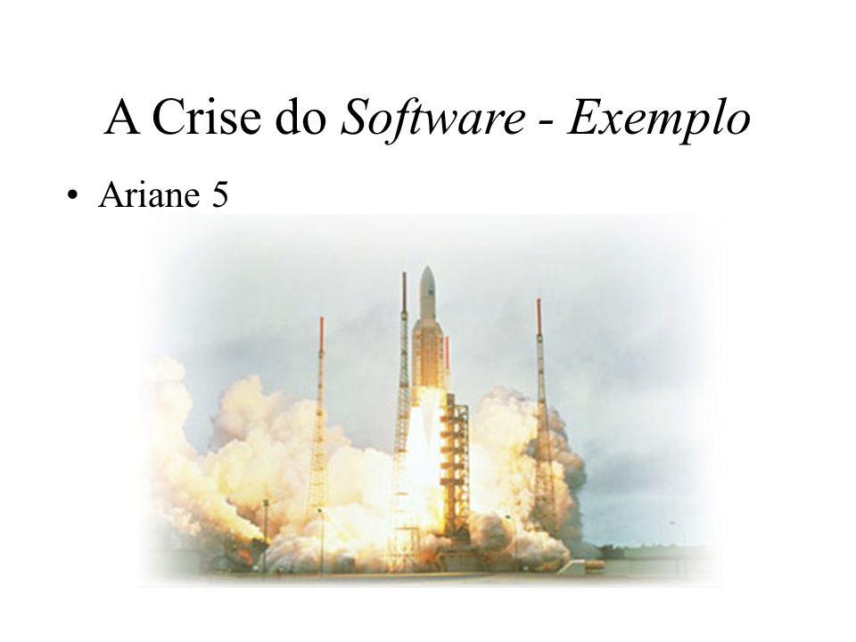 A Crise do Software - Exemplo Ariane 5 Projeto da Agência Espacial Européia que custou: –10 anos; –US$ 8 Bilhões.