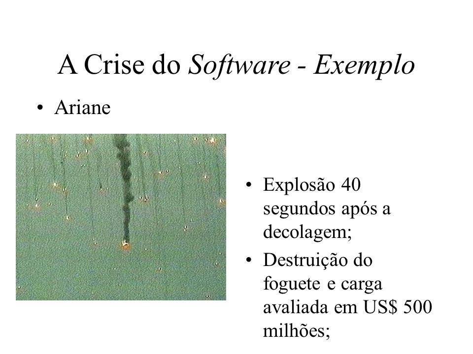 A Crise do Software - Exemplo Ariane Explosão 40 segundos após a decolagem; Destruição do foguete e carga avaliada em US$ 500 milhões;