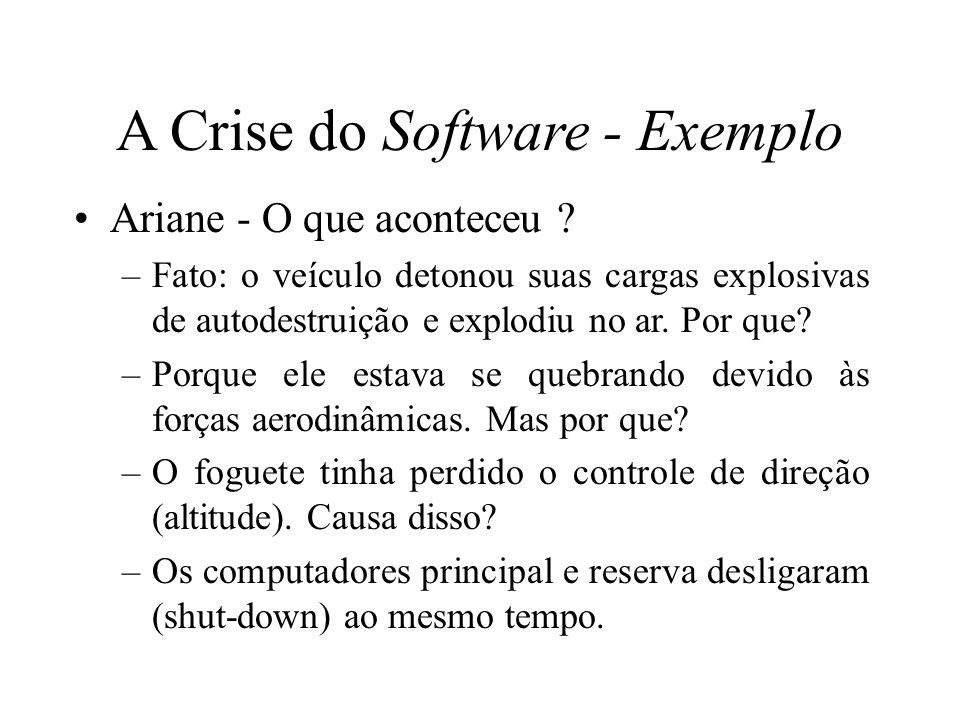 A Crise do Software - Exemplo Ariane - O que aconteceu ? –Fato: o veículo detonou suas cargas explosivas de autodestruição e explodiu no ar. Por que?