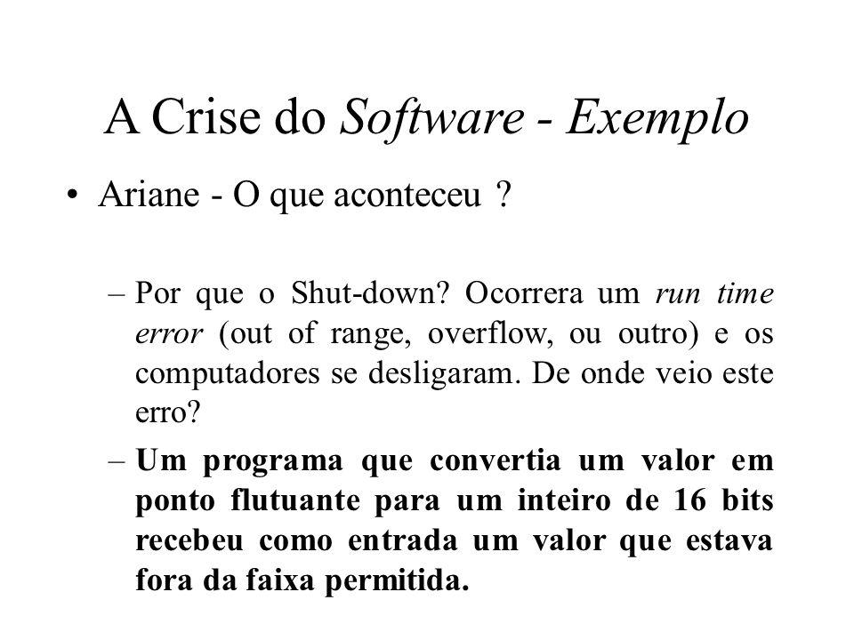 A Crise do Software - Exemplo Ariane - O que aconteceu ? –Por que o Shut-down? Ocorrera um run time error (out of range, overflow, ou outro) e os comp