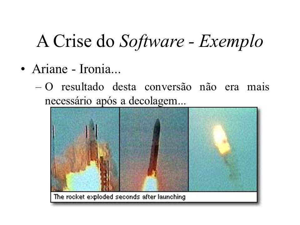 Ariane - Ironia... –O resultado desta conversão não era mais necessário após a decolagem... A Crise do Software - Exemplo