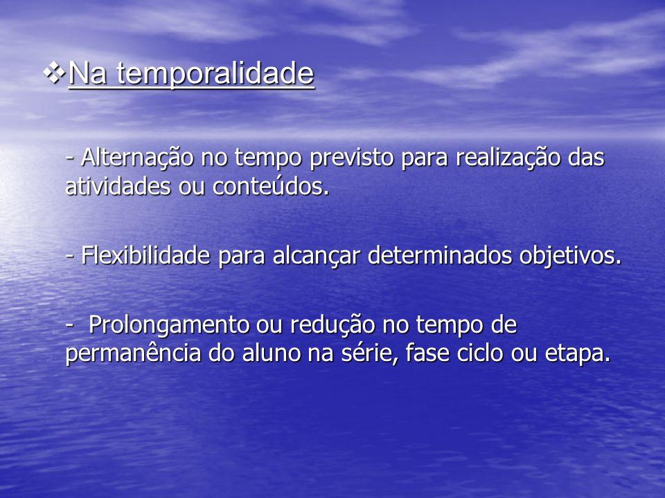 Na temporalidade Na temporalidade - Alternação no tempo previsto para realização das atividades ou conteúdos.