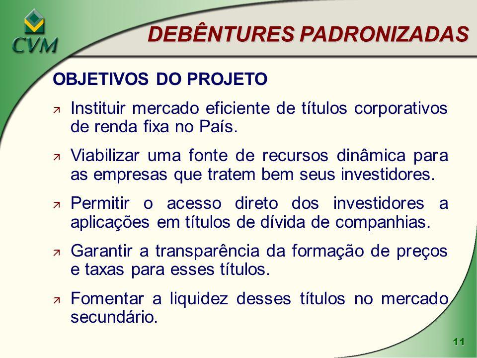 11 DEBÊNTURES PADRONIZADAS OBJETIVOS DO PROJETO ä Instituir mercado eficiente de títulos corporativos de renda fixa no País.