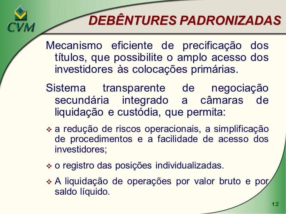 12 DEBÊNTURES PADRONIZADAS Mecanismo eficiente de precificação dos títulos, que possibilite o amplo acesso dos investidores às colocações primárias.