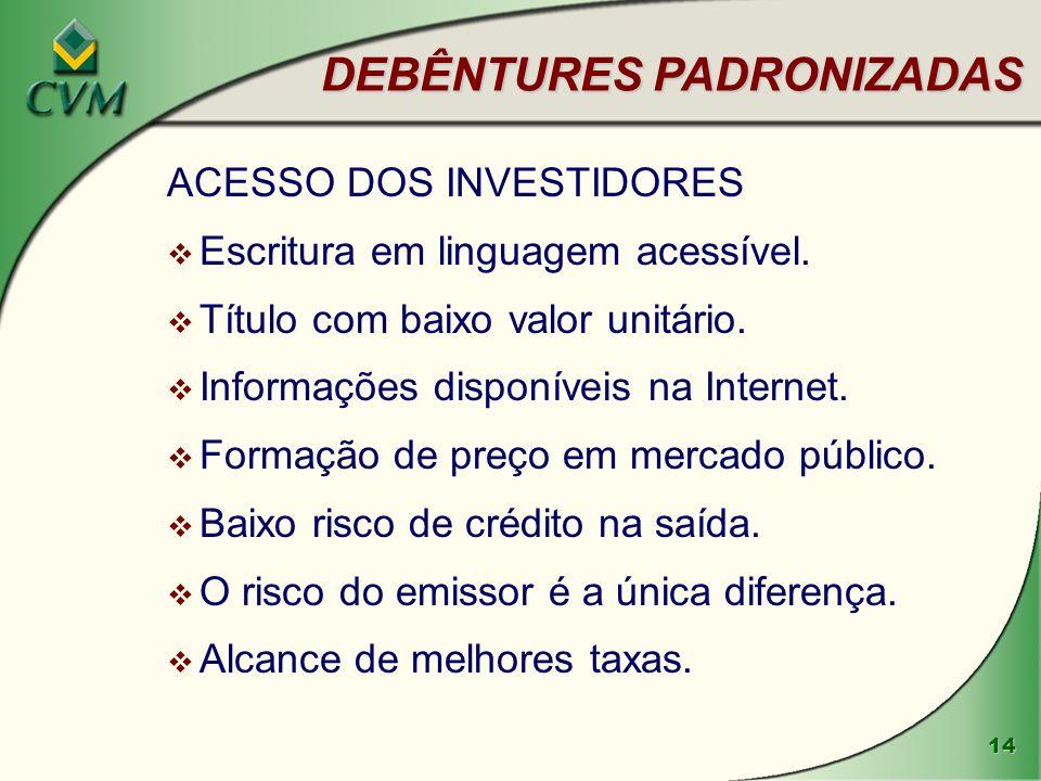 14 DEBÊNTURES PADRONIZADAS ACESSO DOS INVESTIDORES v Escritura em linguagem acessível.