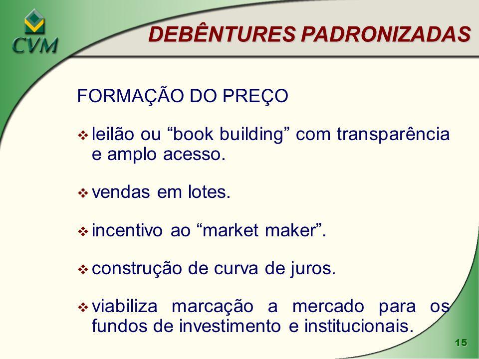 15 DEBÊNTURES PADRONIZADAS FORMAÇÃO DO PREÇO v leilão ou book building com transparência e amplo acesso.