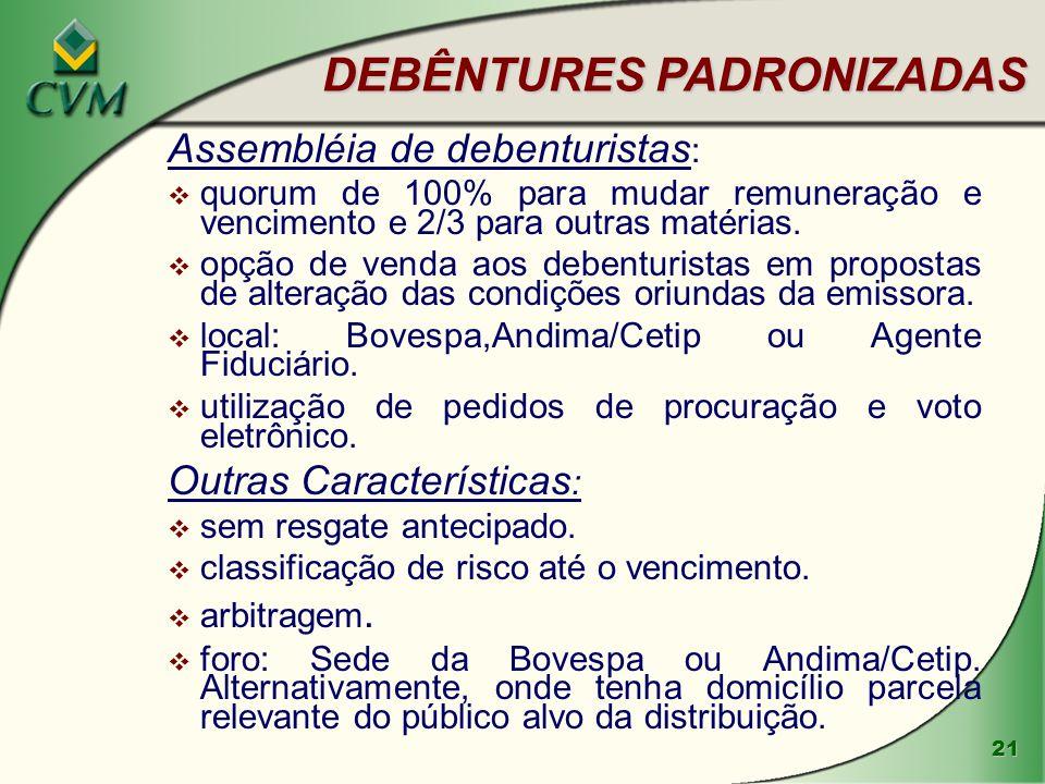 21 DEBÊNTURES PADRONIZADAS Assembléia de debenturistas : v quorum de 100% para mudar remuneração e vencimento e 2/3 para outras matérias.