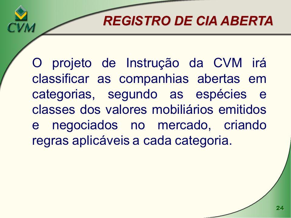 24 REGISTRO DE CIA ABERTA O projeto de Instrução da CVM irá classificar as companhias abertas em categorias, segundo as espécies e classes dos valores mobiliários emitidos e negociados no mercado, criando regras aplicáveis a cada categoria.