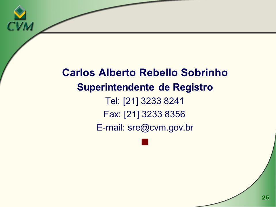 25 Carlos Alberto Rebello Sobrinho Superintendente de Registro Tel: [21] 3233 8241 Fax: [21] 3233 8356 E-mail: sre@cvm.gov.br