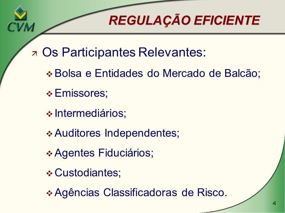 4 REGULAÇÃO EFICIENTE ä Os Participantes Relevantes: v Bolsa e Entidades do Mercado de Balcão; v Emissores; v Intermediários; v Auditores Independentes; v Agentes Fiduciários; v Custodiantes; v Agências Classificadoras de Risco.
