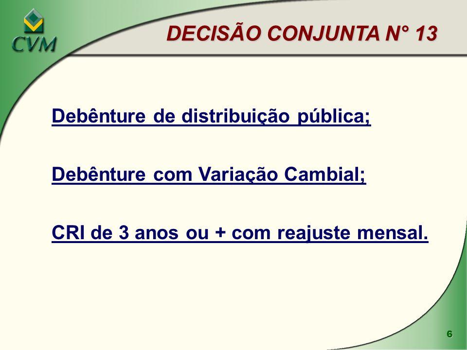 6 DECISÃO CONJUNTA N° 13 Debênture de distribuição pública; Debênture com Variação Cambial; CRI de 3 anos ou + com reajuste mensal.