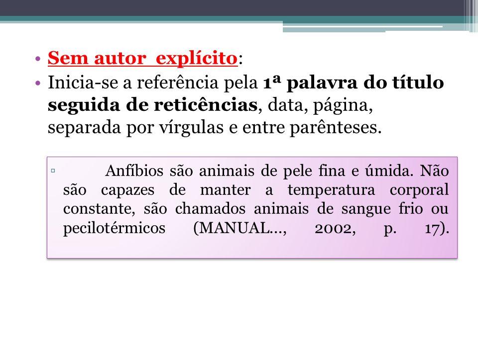 Sem autor explícito: Inicia-se a referência pela 1ª palavra do título seguida de reticências, data, página, separada por vírgulas e entre parênteses.