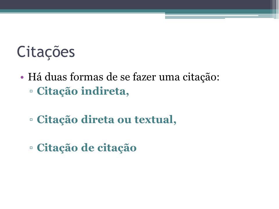 Citações Há duas formas de se fazer uma citação: Citação indireta, Citação direta ou textual, Citação de citação