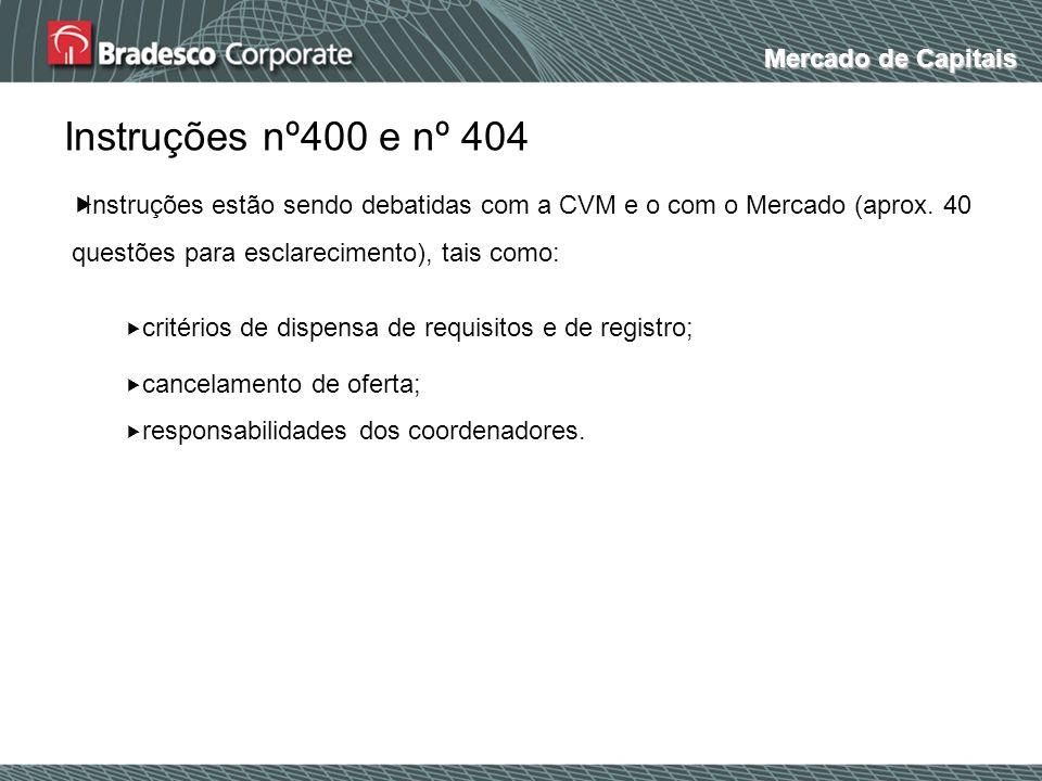 Mercado de Capitais Instruções nº400 e nº 404 Instruções estão sendo debatidas com a CVM e o com o Mercado (aprox. 40 questões para esclarecimento), t