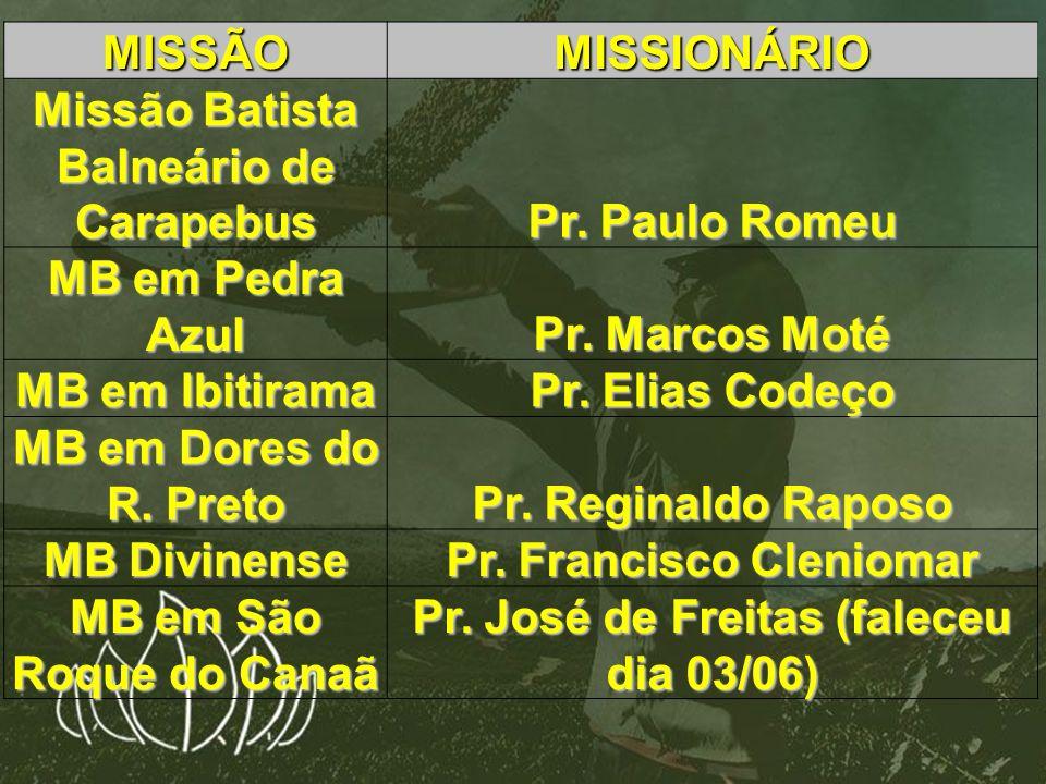 MISSÃOMISSIONÁRIO Missão Batista Balneário de Carapebus Pr. Paulo Romeu MB em Pedra Azul Pr. Marcos Moté MB em Ibitirama Pr. Elias Codeço MB em Dores