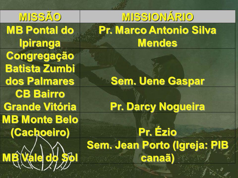 MISSÃOMISSIONÁRIO MB Pontal do Ipiranga Pr. Marco Antonio Silva Mendes Congregação Batista Zumbi dos Palmares Sem. Uene Gaspar CB Bairro Grande Vitóri