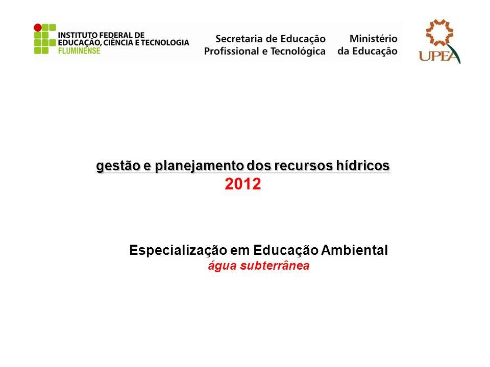 gestão e planejamento dos recursos hídricos gestão e planejamento dos recursos hídricos 2012 Especialização em Educação Ambiental água subterrânea