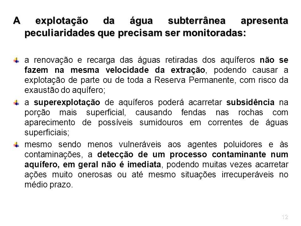 12 A explotação da água subterrânea apresenta peculiaridades que precisam ser monitoradas: a renovação e recarga das águas retiradas dos aquíferos não