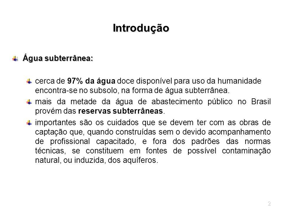 2 Introdução Água subterrânea: cerca de 97% da água doce disponível para uso da humanidade encontra-se no subsolo, na forma de água subterrânea. mais