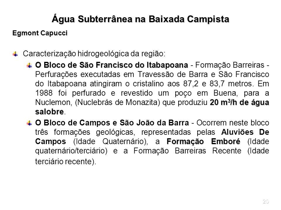 20 Água Subterrânea na Baixada Campista Egmont Capucci Caracterização hidrogeológica da região: O Bloco de São Francisco do Itabapoana 20 m 3 /h de ág
