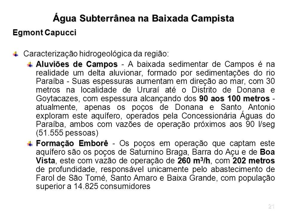 21 Água Subterrânea na Baixada Campista Egmont Capucci Caracterização hidrogeológica da região: Aluviões de Campos 90 aos 100 metros Aluviões de Campo