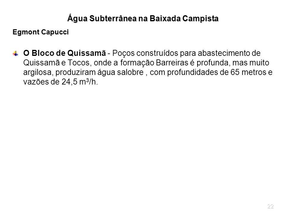 22 Água Subterrânea na Baixada Campista Egmont Capucci O Bloco de Quissamã - Poços construídos para abastecimento de Quissamã e Tocos, onde a formação