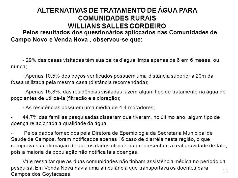 30 ALTERNATIVAS DE TRATAMENTO DE ÁGUA PARA COMUNIDADES RURAIS WILLIANS SALLES CORDEIRO Pelos resultados dos questionários apliccados nas Comunidades d
