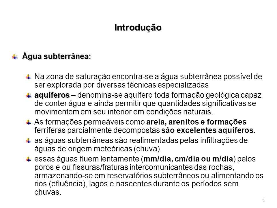 5 Introdução Água subterrânea: Na zona de saturação encontra-se a água subterrânea possível de ser explorada por diversas técnicas especializadas aquí
